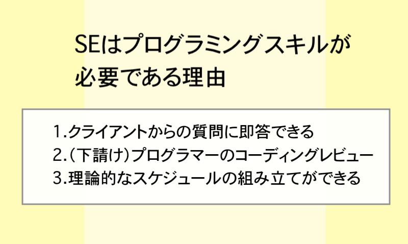 SEはプログラミングスキルが必要である理由