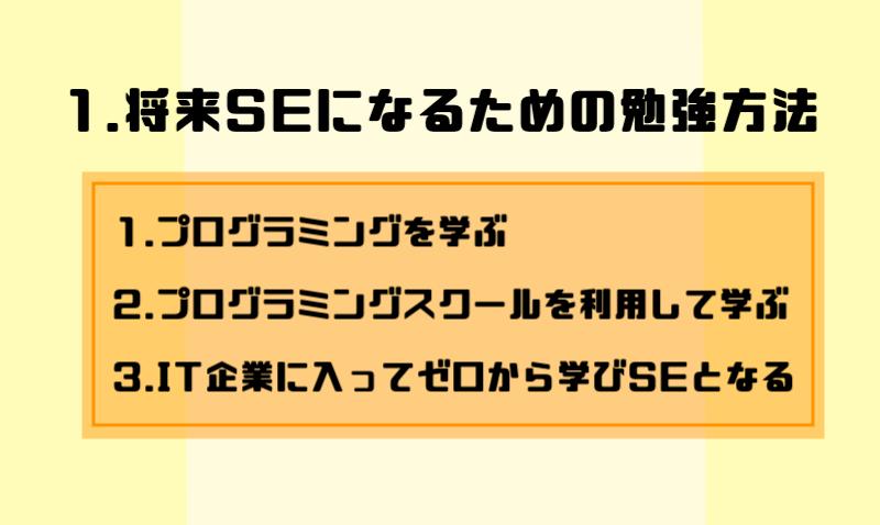 1.将来SEになるための勉強方法