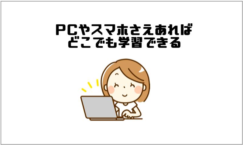 1.PCやスマホさえあれば、どこでも学習できる