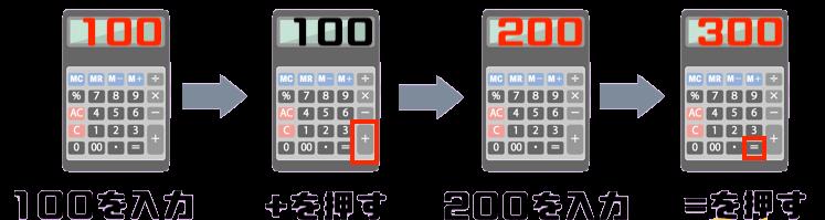 200+300の計算