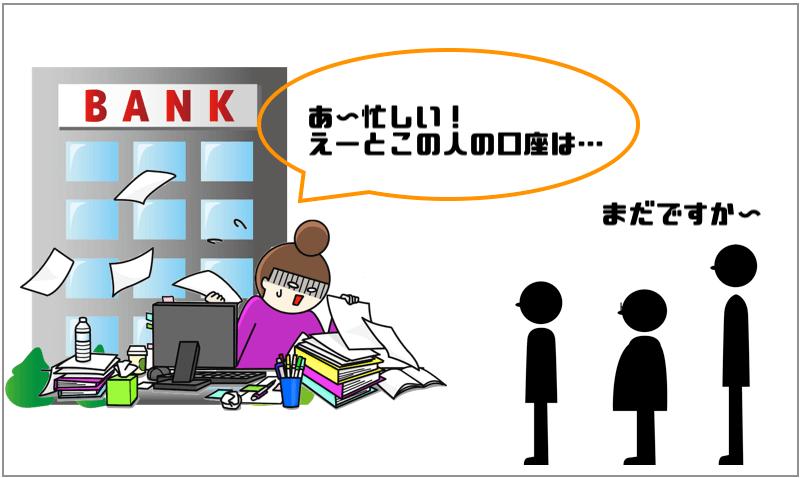 銀行が忙しくなる