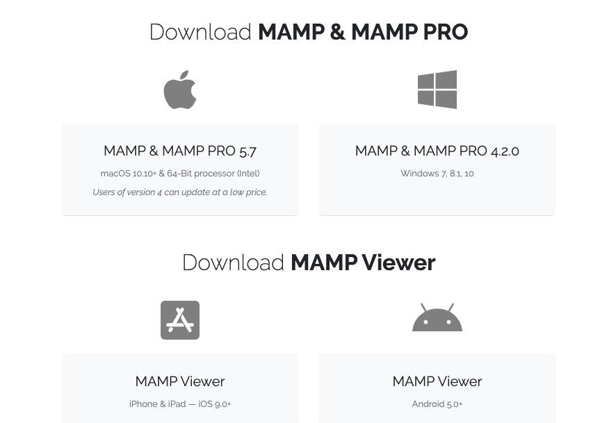 MAMPダウンロードページ