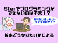 SIerでプログラミングができないのは不安!?将来どうなりたいかによる